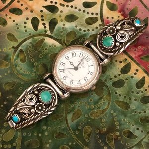 Vintage Navajo Sterling Watch Tips, Watch & Band